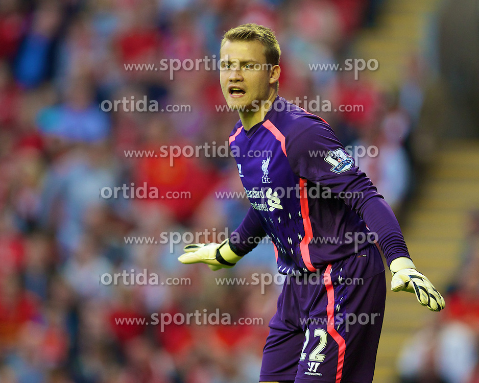 27.08.2013, Anfield, Liverpool, ENG, League Cup, FC Liverpool vs Notts County FC, 2. Runde, im Bild Liverpool's goalkeeper Simon Mignolet in action against Notts County during the English League Cup 2nd round match between Liverpool FC and Notts County FC, at Anfield, Liverpool, Great Britain on 2013/08/27. EXPA Pictures &copy; 2013, PhotoCredit: EXPA/ Propagandaphoto/ David Rawcliffe<br /> <br /> ***** ATTENTION - OUT OF ENG, GBR, UK *****