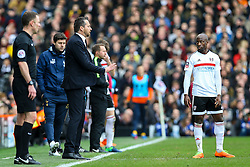 Fulham manager Slavisa Jokanovic stand talking to Sone Aluko of Fulham - Mandatory by-line: Jason Brown/JMP - 19/02/2017 - FOOTBALL - Craven Cottage - Fulham, England - Fulham v Tottenham Hotspur - Emirates FA Cup fifth round
