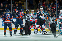 KELOWNA, CANADA - FEBRUARY 24: Jermaine Loewen #32 of the Kamloops Blazers gets in the face of Braydyn Chizen #22 of the Kelowna Rockets  on February 24, 2018 at Prospera Place in Kelowna, British Columbia, Canada.  (Photo by Marissa Baecker/Shoot the Breeze)  *** Local Caption ***