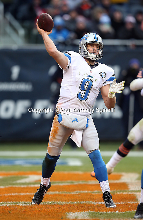 Detroit Lions quarterback Matthew Stafford (9) throws a fourth quarter pass for a first down from his own end zone during the NFL week 17 regular season football game against the Chicago Bears on Sunday, Jan. 3, 2016 in Chicago. The Lions won the game 24-20. (©Paul Anthony Spinelli)