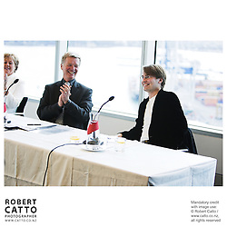 Diana Fenwick;Peter Walls;Pietari Inkinen at the Press conference announcing Pietari Inkinen as the NZSO's Music Director at Minter Ellison, The Lumley Centre, Auckland