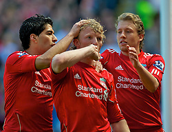 01.05.2011, Anfield, Liverpool, ENG, PL, Liverpool FC vs Newcastle United FC, im Bild Liverpool's celebrates scoring his side's second goal against Newcastle United with team-mates Luis Alberto Suarez Diaz and Lucas Leiva during the Premiership match at Anfield, EXPA Pictures © 2011, PhotoCredit: EXPA/ Propaganda/ *** ATTENTION *** UK OUT!