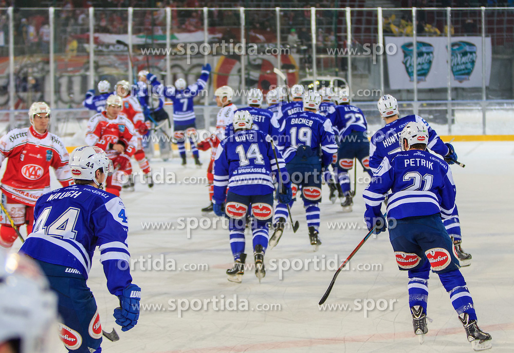 03.01.2015, Wörthersee Stadion, Klagenfurt, AUT, EBEL, EC KAC vs EC VSV, 40. Runde, im Bild shaking Hands after the match // during the Erste Bank Icehockey League 40th round match betweeen EC KAC and EC VSV at the Woerthersee Stadion in Klagenfurt, Austria on 2015/01/03. EXPA Pictures © 2015, PhotoCredit: EXPA/ Gert Steinthaler