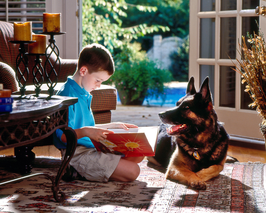 photograph of a young boy sitting on the floor reading a book while his german shepherd dog lays beside him.