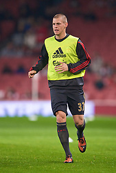 LONDON, ENGLAND - Wednesday, October 28, 2009: Liverpool's Martin Skrtel warms-up before the League Cup 4th Round match against Arsenal at Emirates Stadium. (Photo by David Rawcliffe/Propaganda)