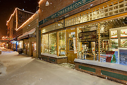 """Art Obsessions in Downtown Truckee 2"" - Photograph of the Art Obsessions gallery in snowy Downtown Truckee, CA."