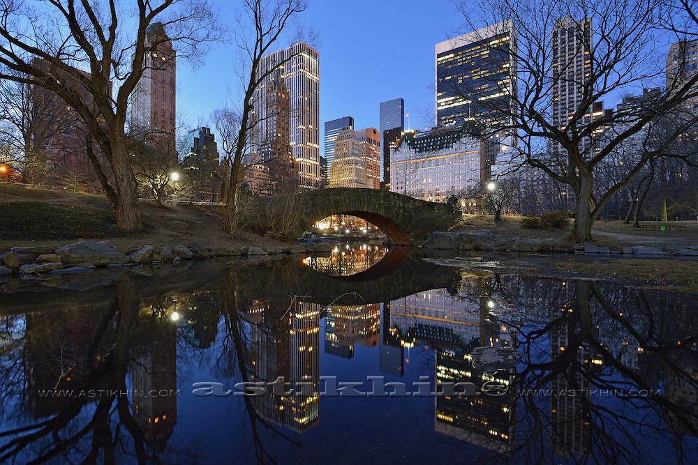 Reflection of Gapstow Bridge in Pond.