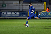 AFC Wimbledon attacker Marcus Forss (15) scoring penalty during the EFL Sky Bet League 1 match between AFC Wimbledon and Doncaster Rovers at the Cherry Red Records Stadium, Kingston, England on 14 December 2019.
