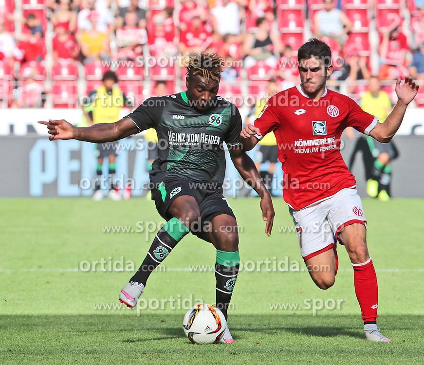 29.08.2015, Coface Arena, Mainz, GER, 1. FBL, 1. FSV Mainz 05 vs Hannover 96, 3. Runde, im Bild v.l.: Allan Saint-Maximin (H96) gegen Jairo Samperio (MZ) // during the German Bundesliga 3rd round match between 1. FSV Mainz 05 and Hannover 96 at the Coface Arena in Mainz, Germany on 2015/08/29. EXPA Pictures &copy; 2015, PhotoCredit: EXPA/ Eibner-Pressefoto/ Neurohr<br /> <br /> *****ATTENTION - OUT of GER*****