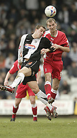 Photo: Aidan Ellis.<br /> Grimsby Town v Swindon Town. Coca Cola League 2. 17/03/2007.<br /> Swindon's Jack Smith beats Grimsby's Gary Jones to the header