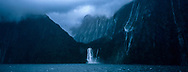 Milford sound on a rainy overcast day.