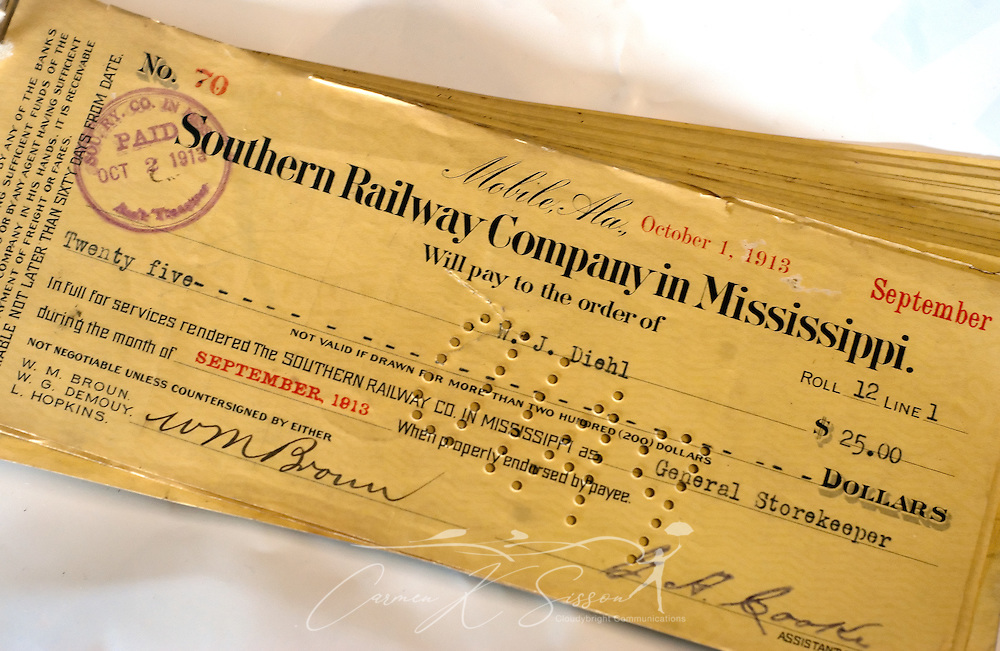 "A railroad worker's cancelled paycheck, dated 1913, is pictured at the Meridian Railroad Museum on Jan. 15, 2011 in Meridian, Miss. The museum, which is open from 10 a.m. to 4 p.m. every first and third Saturday, features photographs and artifacts detailing Meridian's history as ""a child of the railroad."" (Photo by Carmen K. Sisson/Cloudybright)"