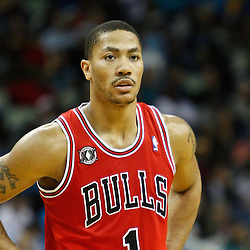 February 12, 2011; New Orleans, LA, USA; Chicago Bulls point guard Derrick Rose (1) against the New Orleans Hornets during the third quarter at the New Orleans Arena. The Bulls defeated the Hornets 97-88.  Mandatory Credit: Derick E. Hingle