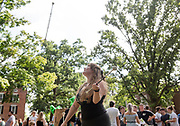 A member of Bobcat Twirlers practices during the 2019 Involvement Fair. Photo by Hannah Ruhoff