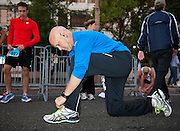 Mayor Mitch Landrieu prepares for the run; WDSU-TV coverage of the third annual<br /> Jazz Half Marathon and 5K run benefiting the cancer program at Children's Hospital