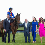 02.05.2018.        <br /> Limerick Racecourse launches Twilight Racing Series. <br /> Pictured are left to right, Stephen Keeley, Fields The Jeweller, Jockey, Derick Cooper, John Davitt, Crescent Shopping Centre, models, Emma Doran and Chloe Walsh. Picture: Alan Place