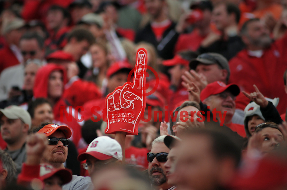 Wolfpack fans celebrate a touchdown against Clemson.