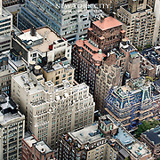 An elevated look at the density of midtown Manhattan from the observation deck at the Empire State Building