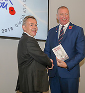 Chris Roberts, author, (left) presents his book The Greatest Sacrifice, to RFL CEO Ralph Rimmer during the official launch of the England Rugby League Remembrance Shirt at Imperial War Museum North, Trafford Park, Manchester<br /> Picture by Steve McCormick/Focus Images Ltd 07545 862647<br /> 15/10/2018