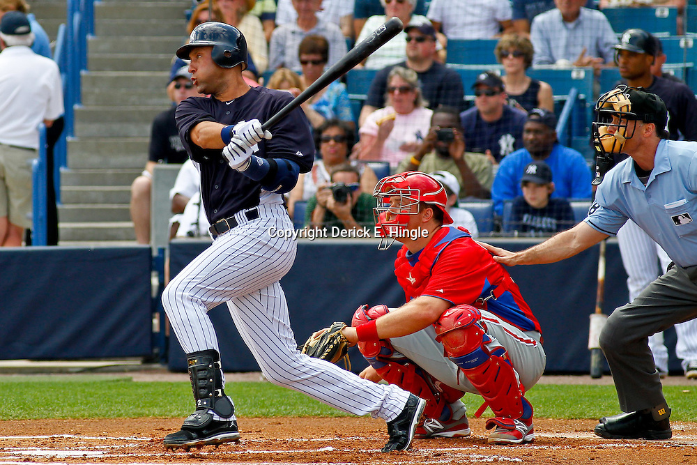 March 11, 2012; Tampa Bay, FL, USA; New York Yankees shortstop Derek Jeter (2) against the Philadelphia Phillies during a spring training game at George M. Steinbrenner Field. Mandatory Credit: Derick E. Hingle-US PRESSWIRE