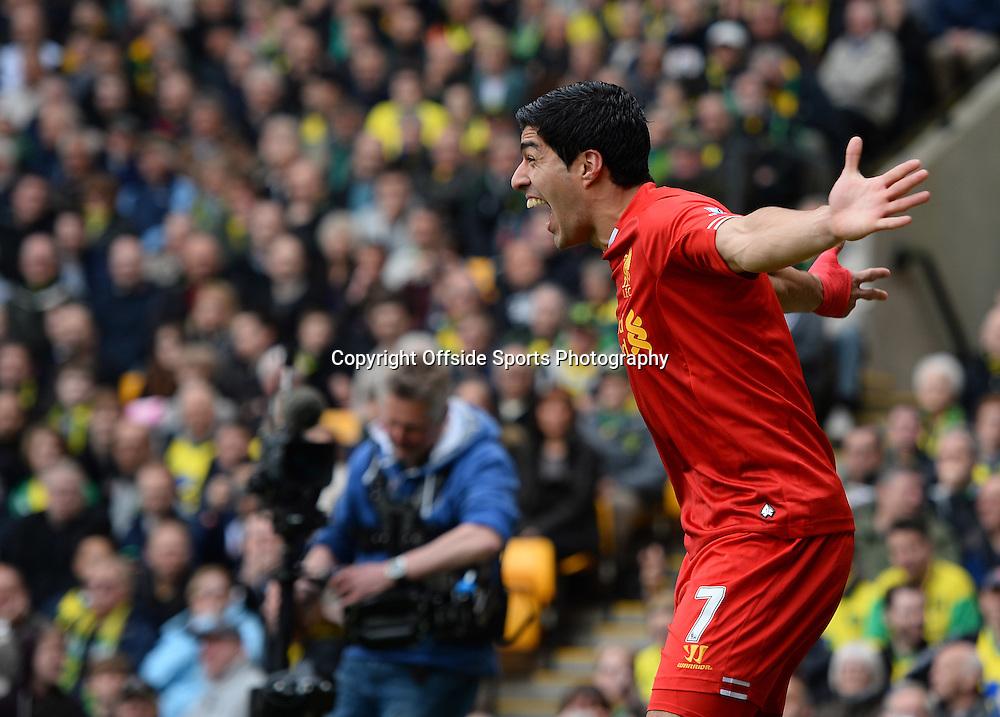 20 April 2014 - Barclays Premier League - Norwich City v Liverpool - Luis Suarez of Liverpool celebrates scoring the 2nd goal - Photo: Marc Atkins / Offside.