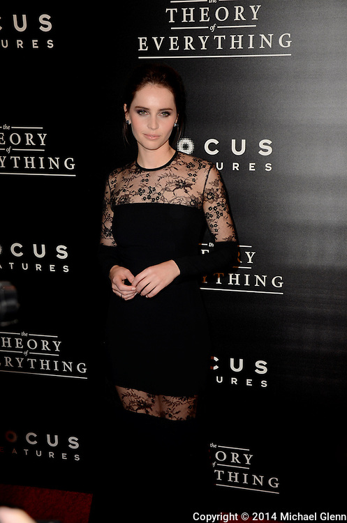 NYC, New York - October 20: Felicity Jones on the red carpet for their new motion picture The Theory of Everything at Museum of Modern Art MOMA on October 20, 2014 in New York, New York. Photo Credit: Michael Glenn / Retna Ltd