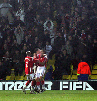 Photo: Mark Stephenson/Richard Lane Photography.<br /> Watford v Charlton Althetic. Coca Cola Championship. 19/01/2008. Charlton celebrate there goal in frony of there fans