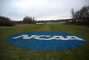 General overall view of the NCAA logo at the Thomas Zimmer Championship Cross Country Course in Madison, Wis., Saturday, Nov. 17, 2018. (Kirby Lee via AP)