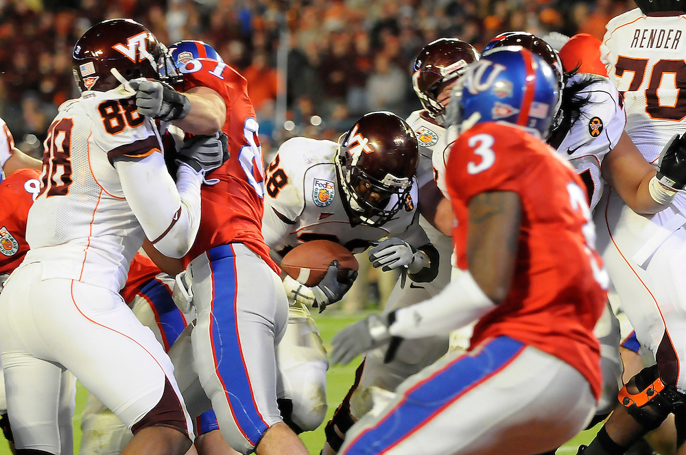 January 3, 2008 - Miami Gardens, FL<br /> <br /> Branden Ore #28 of the Virginia Tech Hokies in action during Kansas' 24-21 victory over Virginia Tech in the 2008 Orange Bowl Classic at Dolphin Stadium in Miami Gardens, Florida.<br /> <br /> JC Ridley/CSM