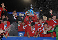 Football - The Conference Premier Division - Crawley Town vs. Luton Town pablo Mills (Crawley captain and team with the trophy) 12/04/2011<br />  Credit : Colorsport / Andrew Cowie