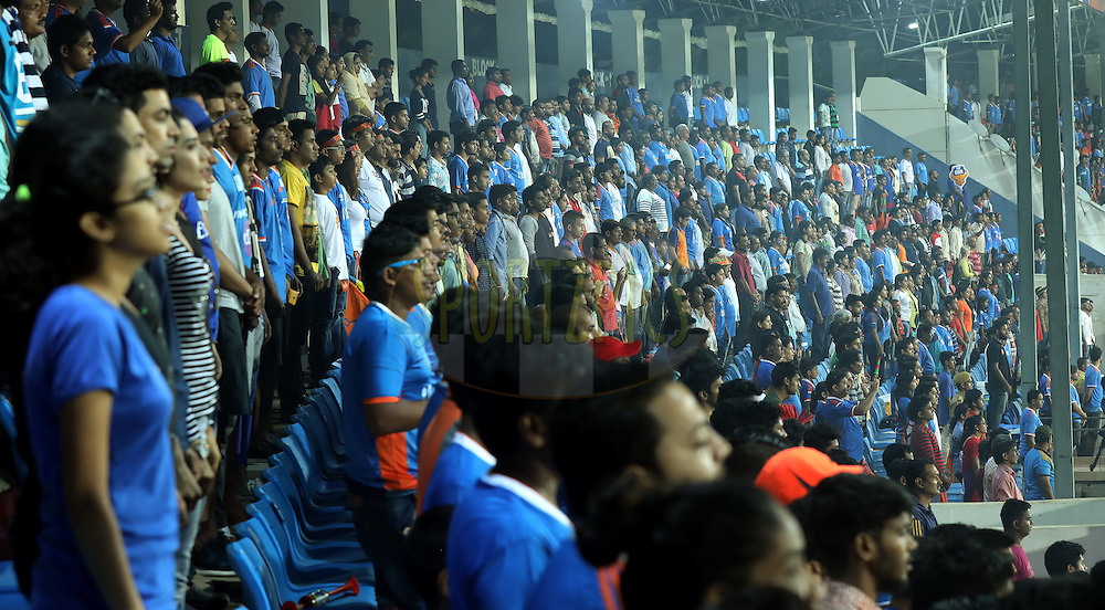 Fan's stand during national anthem of the match 8 of the Indian Super League (ISL) season 3 between FC Goa and FC Pune City held at the Fatorda Stadium in Goa, India on the 8th October 2016.<br /> <br /> Photo by Sandeep Shetty / ISL/ SPORTZPICS