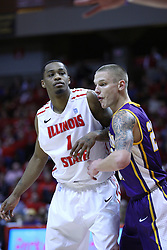 05 January 2013:  Tyler Brown and Marc Sonnen during an NCAA Missouri Valley Conference (MVC) mens basketball game between the Northern Iowa Panthers and the Illinois State Redbirds in Redbird Arena, Normal IL
