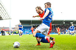 Craig Mackail-Smith of Wycombe Wanderers challenges Laurence Maguire of Chesterfield - Mandatory by-line: Robbie Stephenson/JMP - 28/04/2018 - FOOTBALL - Proact Stadium - Chesterfield, England - Chesterfield v Wycombe Wanderers - Sky Bet League Two