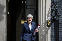 London, UK. 17 July, 2019. Prime Minister Theresa May leaves 10 Downing Street to attend Prime Minister's Questions in the House of Commons. Credit: Mark Kerrison/Alamy Live News