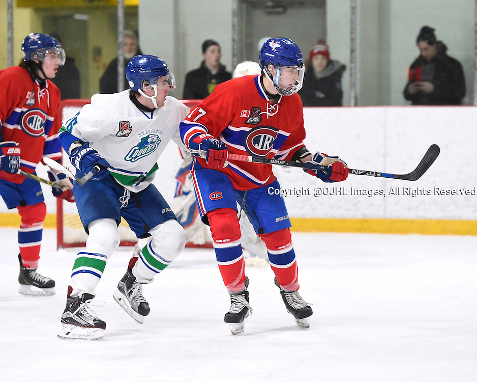 BURLINGTON, - Mar 2, 2016 -  Ontario Junior Hockey League game action between Burlington Cougars and the Toronto Junior Canadians. Game 1 of the first round playoff series at the Appleby Ice Centre, ON. Chris Cobham #26 of the Burlington Cougars battles for control with George Novachis #17 of the Toronto Jr. Canadiens during the third period.<br /> (Photo by Andy Corneau / OJHL Images)