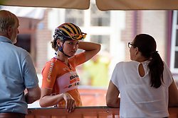 Chantal Blaak (Boels Dolmans) catches up with an old friend at the 26.4 km Stage 2 Team Time Trial of the Boels Ladies Tour 2016 on 31st August 2016 in Gennep, Netherlands. (Photo by Sean Robinson/Velofocus).