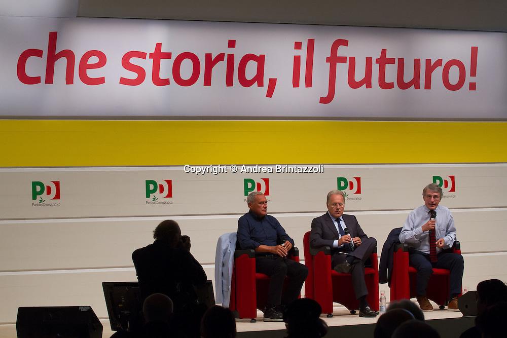 Bologna 04 settembre 2014 - Festa De L'Unità - Dibattito: Cittadini e Istituzioni protagonisti del cambiamento. Nella foto Pietro Grasso, David Sassoli