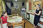 Women living  in a house-container of the Municipality of Palermo  since seven years,after being  evicted from their own home.<br /> Palermo,donne che  vivono  da circa sette anni in un campo containers del comune, dopo avere  subito uno sfratto.