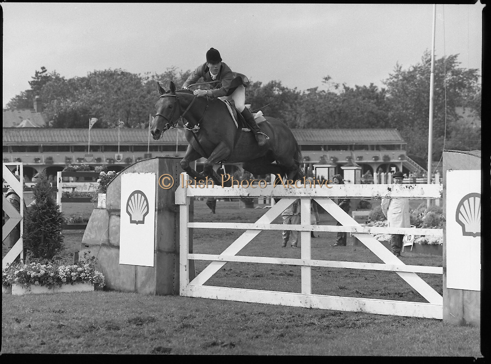 Shell Sponsored Events At The Dublin Horse Show.(R39).1986..07.08.1986..08.07.1986..7th August 1986..At the Horse Show Shell sponsored both the Speed and Power competition and The Puissance..The Speed and Power event was won by Hap Hanson riding 'Gambrinus'. The Puissance was shared by Capt John Ledingham (Irl) on 'Kilcoltrim' and Nick Skelton (GB) on 'Raffles Apollo' who both cleared the high wall at 7feet...Image shows John Whitaker (GB) on 'Granita' taking part in the Speed and power event.