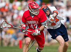 Cornell Big Red M Max Seibald (42) gets a shot off past Virginia Cavaliers LSM Mike Timms (44).  The #1 ranked Virginia Cavaliers defeated the #4 ranked Cornell Big Red 14-10 at Klockner Stadium on the Grounds of the University of Virginia in Charlottesville, VA on March 8, 2009.