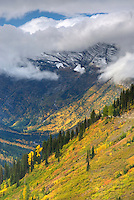 Autumn view from the Going To The Sun Road of Glacier National Park Montana USA