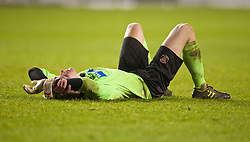 BLACKPOOL, ENGLAND - Wednesday, December 18, 2013: Blackpool's goalkeeper Connor Hunt looks dejected after losing to Liverpool on penalties during the FA Youth Cup 3rd Round match at Bloomfield Road. (Pic by David Rawcliffe/Propaganda)