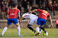 Western Sydney Wanderers midfielder Roly Bonevacia (28) and Bonnyrigg White Eagles midfielder Mun-Soo Gil (18) fight for the ball at the FFA Cup Round 16 soccer match between Bonnyrigg White Eagles FC v Western Sydney Wanderers FC at Marconi Stadium in Sydney.