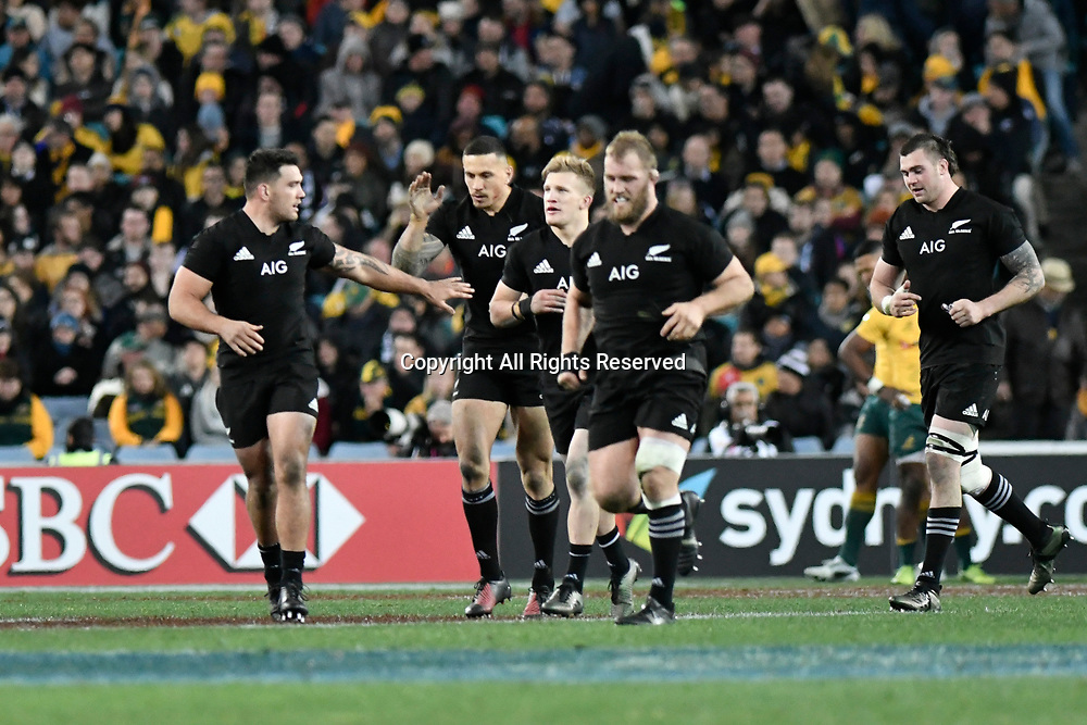 August 19th 2017, ANZ Stadium, Sydney, Australia; The Rugby Championship; Australia versus New Zealand; All Blacks centre Sonny Bill Williams is congratulated by team mates following his try;  The All Blacks won the game 54-34;