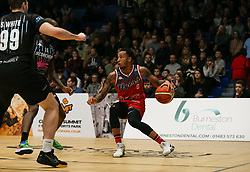 Gentry Thomas of Bristol Flyers on the ball - Photo mandatory by-line: Arron Gent/JMP - 07/12/2019 - BASKETBALL - Surrey Sports Park - Guildford, England - Surrey Scorchers v Bristol Flyers - British Basketball League Championship