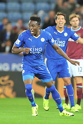 Joe Dodoo scores Leicester first goal and celebrtes, Leicester City v West Ham Utd, Carling Cup Round 3, King Power Stadium, Tuesday 22nd September 2015.Leicester City v West Ham Utd, Carling Cup Round 3, King Power Stadium, Tuesday 22nd September 2015.Leicester City v West Ham Utd, Carling Cup, King Power Stadium, Tuesday 22nd September 2015.