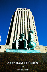 Missouri: Kansas City. City Hall, art deco style, with Lincoln sculpture. Photo #: kansas105..Photo copyright Lee Foster, www.fostertravel.com, 510/549-2202, lee@fostertravel.com