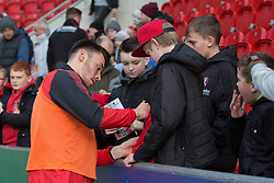 Kieffer Moore of Rotherham United signs autographs for young fans before kick-off against Shrewsbury Town - Mandatory by-line: Ryan Crockett/JMP - 18/11/2017 - FOOTBALL - Aesseal New York Stadium - Rotherham, England - Rotherham United v Shrewsbury Town - Sky Bet League One