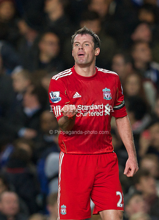 LONDON, ENGLAND - Tuesday, November 29, 2011: Liverpool's Jamie Carragher during the Football League Cup Quarter-Final match against Chelsea at Stamford Bridge. (Pic by David Rawcliffe/Propaganda)