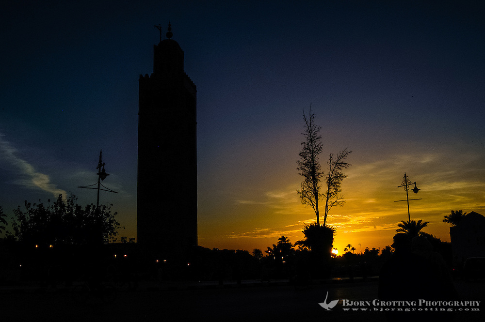Morocco, Marrakesh. Sunset. The Koutoubia Mosque is the largest mosque in Marrakech.